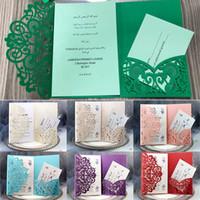 kits casamento convites laser cut venda por atacado-Kits de Cartões de Convite de casamento Primavera Flor Bolso A Laser Cartão de Convite de Noiva Para Noivado Cartões de Festa de Aniversário WX9-1586