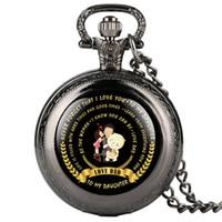 colar de relógio de bolso espelho venda por atacado-Para o meu pai Amor FILHA Tema Series Pocket Watch Árabe presente digital para Pocket Watch Com Colar Dropshipping