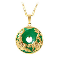 grüne jade drachen anhänger kette großhandel-MGFam (173P) Drachen und Phönix Anhänger Halskette Für Frauen Grüne Malaysische Jade China Alte Maskottchen 24 Karat Vergoldet mit 45 cm Kette
