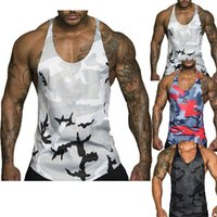 ingrosso gilet in stile muscolare-2019 New Style Fashion Hot Uomo Muscle Sleeveless Camouflage Canotta Bodybuilding Fitness casual # 716144