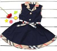 roupa clássica das meninas venda por atacado-Roupa das crianças do bebê sem mangas cintos de vestido xadrez correspondência de cor bonito personalidade elegante clássico lapela vestido da menina