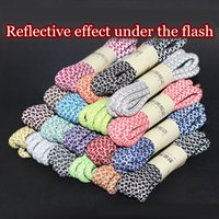 Wholesale sneakers shoelace resale online - 1Pair M Reflective Shoelaces Round Sneakers laces Fluorescent ShoeLace Fashion Shiny Shoe Laces Length CM