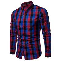 52616b46b8a5d0 Camicia a quadri 2018 New Autumn Winter Red Camicia a quadretti Camicie da  uomo Camicia a maniche lunghe in cotone a maniche lunghe Chemise Homme blu