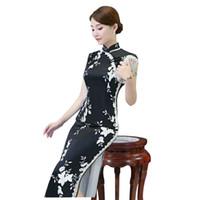 chinesisches kragenkleid schwarz großhandel-Schwarz Vintage Chinesischen Stil Qipao Lange Handgemachte Knopf Cheongsam Kleid frauen Stehkragen Traditionelle Kleidung Größe M-3XL