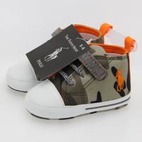 bebek pamuklu kumaş toptan satış-Sıcak Satış İlkbahar ve Sonbahar Bebek Ayakkabı PU Pamuk Kumaş Yenidoğan Kamuflaj Erkek İlk Walker Ayakkabı Bebek Prewalker Sneakers Ayakkabı