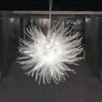 ingrosso lampadari a fiato-Lampadario in vetro di Murano soffiato a mano trasparente Lampadario Illuminazione Forma rotonda Portico Lampada creativa da corridoio in cristallo
