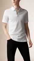 top london t-shirts großhandel-London Brit Men Solide Polo-Shirts Pferdestickerei Slim Fit England Style Polos Freizeithemd Herren T-Shirts Top Marineblau Weiß Schwarz Rot