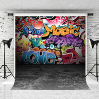 Dream 5x7ft Colorful Graffiti Wall Backdrop Hiphop Street Art Photography Background for Baby Portrait Photo Grey Floor Backdrop Studio Prop