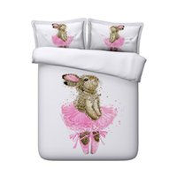 ingrosso re scherzano-Animal Rabbit Decorative 3 Piece 1 Copripiumino con chiusura a cerniera 2 Cuscini Shams Cotton Polyester Pink Bunny Girls Bedding Sets Teen Boys