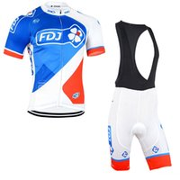 Wholesale fdj team clothing for sale - Fdj Team Cycling Short Sleeves Jersey Bib Shorts Sets Summer Men Clothing Breathable Quick Dry Outdoor Mountain U40926