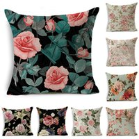 Wholesale couch decor resale online - Rose Linen Cushion Cover Flowers Print Decorative Floral Pillowcase Sweet Home Decor for Sofa Couch Bedroom Living Room x45cm