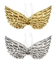 goldflügel kostüm großhandel-Engel Fee Flügel verkleiden sich Flügel Halloween Hochzeit Geburtstag Party Kostüm Zubehör Hintergrund Dekor Gold Silber Event Favos