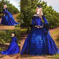 викторианские юбки оптовых-Королевский синий с черными готическими викторианскими свадебными платьями Винтажный пухлый принцесса с длинным рукавом и корсетом на шнуровке сзади Маскарадные свадебные платья