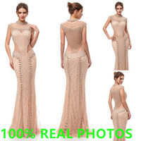 Wholesale embroidery designer occasion dresses online - 2019 Luxury Champagne mermaid Evening Dresses high neck full Beading crystal sheer backless Party Pageant Gowns Arabic Celebrity Prom Gown