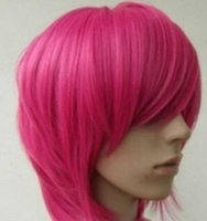 Wholesale straight pink cosplay wig online - WIG Short Hot Pink straight base cosplay wig
