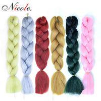 pembe ombre saç uzantıları toptan satış-Nicole Saç 24 inç Ombre Kanekalon Sentetik Tığ Saç Uzantıları Jumbo Örgüler Saç Modelleri Pembe Sarışın Kırmızı Mavi Örgü Saç