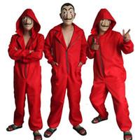 traje de cosplay vermelho venda por atacado-La Casa De Papel Salvador Dali Traje Vermelho Macacões Cosplay Dali Terno Dinheiro Assalto Filme Quente