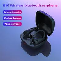 drahtlose kopfhörer für iphone großhandel-B10 TWS 5.0 Power Pro Earbuds Wireless-Charging Bluetooth-Kopfhörer-Freisprecheinrichtung Haken In-Ohr-Kopfhörer Sport Kopfhörer für Android iPhone