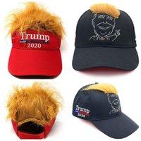 kapak sivri uçları toptan satış-Çivili Sahte Saç Peruk Katı Renk Ayarlanabilir güneşlik şapka Hip Hop Streetwear Hediye MMA2965 ile Trump Beyzbol Şapkası