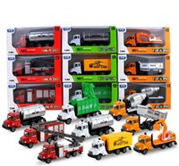 Wholesale van toy resale online - LS Diecast Alloy Engineering Vehicle Model Toy Fire Engine Garbage Truck Delivery Van Pull back for Xmas Kid Birthday Boy Gift