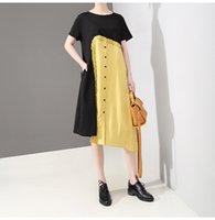 sarı siyah patchwork elbise toptan satış-Yeni 2019 Kore Stil Bayan Yaz Düz Elbise Siyah Sarı Patchwork Bayanlar Benzersiz Midi Elbise Casual Stil Robe Femme F804