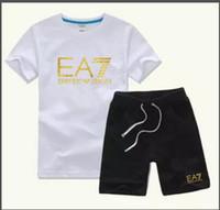 roupas para crianças amarelas venda por atacado-HOT Novo Logotipo de Luxo Designer Crianças Calças T-Shirt 2-7 Anos Set Crianças Marca Crianças 2 Peça de Algodão Roupas Set Meninos Moda Vestuário COCO