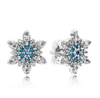 Wholesale 925 silver snowflake jewelry resale online - Original Sterling Silver Earring Crystalized Snowflake Crystal Stud Earrings For Women Wedding Party Fashion Jewelry