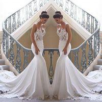 2020 Cheap Lace Mermaid Beach Wedding Dresses Satin Lace Applique Sweep Train Boho Wedding Bridal Gowns robes de mariée BC0190