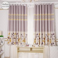 маленькие шторы оптовых-Yellow leaves stripe printed blackout curtains for bedroom short curtains for small window drapes kids room