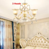 Wholesale semi mount pendant white gold for sale - Group buy New European style luxury resin crystal chandelier lighting glass lampshade white chandelier lights bedroom dinning room led pendant lamp