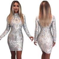ingrosso vestiti da bodycolor glitter-Prova tutto Sexy vestito con paillette Maniche lunghe Argento con glitter Vestito con abiti aderenti 2018 New Woman Party Abiti da sera da donna