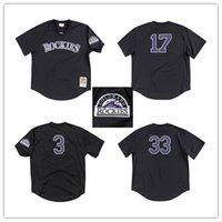 camisetas de béisbol auténticas de vuelta al por mayor-Retroceso de Colorado Dale Murphy 1993 Malla auténtico BP Jersey Rocosas 1997 Larry Walker 1998 Todd Helton jerseys del béisbol