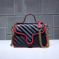 freies metall match großhandel-New Classic Deluxe Passende Echtes Leder Umhängetasche Beste Qualität Metallkette Große Handtasche Freies Verschiffen Größe 21 cm