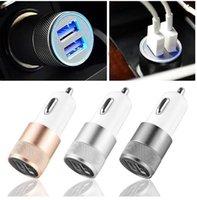 estoque de veículos venda por atacado-em estoque Dual USB Car Charger Adapter 3.1A Auto Vehicle Charger Metal para entregas / Tablet