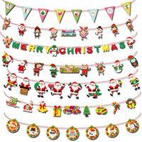 Wholesale diy shop decor for sale - Group buy Christmas Decor Banner Flag DIY Paper Xmas Flags Santa Clause Bunting Banners Merry Christmas Home Shop Market Room Decor