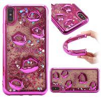 iphone sexy großhandel-Galvanisieren lippen Dynamische Flüssige Quicksand Phone Cases Für iPhone 8 7 6 Plus Sexy Mund Weichen TPU Fall für iPhone X XR XS Max Samsung S9 Plus