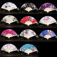 Wholesale free hand held fans for sale - Group buy DHL Free Ship Personalized Wedding Fan Vintage Bamboo Folding Hand Held Flower Fan Chinese Dance Party Pocket Gifts wedding fan colors