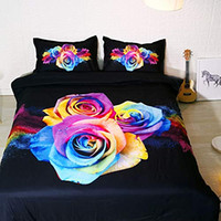 Wholesale purple rose bedspread for sale - Group buy Rainbow Rose Bedding Set Piece Full Set Pink Black Bedspreads Cute Duvet Covers Girls Coverlet Purple pc Bed Linen Full Floral Shams