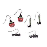 ingrosso stivali di zinco-Regalo di Halloween Stivali di zucca fantasia in lega di zinco Set di orecchini per scarpe Orecchini con gancio smaltato per donna