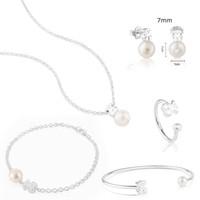 anillos de perlas de plata de ley al por mayor-100% 925 Oso de plata esterlina Pendientes de oso de perla Elegantes pendientes de temperamento Anillo abierto Pulsera Collar de brazalete de novia