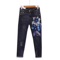новые тенденции моды джинсы оптовых- Hole New Pants Female Denim Jeans Retro embroidery Sequins 3D Floral Fashion Trends Jeans Dark Blue Pants
