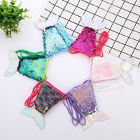 Wholesale pouch for sale - 6Styles Mermaid Sequins Coin Purse With Lanyard mermaid Fish Shape Tail Coin Pouch Bag Portable Glittler Wallet Girl storage bag FFA1799