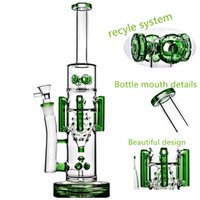Wholesale recycler 15 resale online - 15 Inch Thick Glass Water Bong Heady Oil Rigs Water Pipes Recycler Dab Rigs mm Male bowl