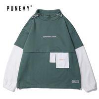 eski hip hop hoodie toptan satış-İnsanın Hoodie için Erkekler Kapüşonlular Hoody Harajuku Japon Streetwear Vintage Patchwork Hip Hop Oversize Pamuk Kapşonlu Kazaklar Hoody