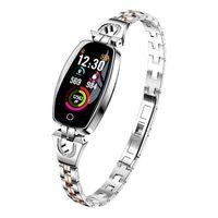 relógio de coração prateado venda por atacado-H8 inteligente Pulseira Mulheres Heart Rate sono Smart Monitor Banda Pressão Arterial Watch Band para IOS Android Smartbands (Silver)