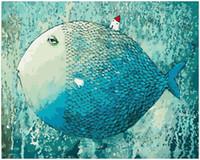 poisson peinture à l'huile achat en gros de-Peinture de bricolage selon les numéros Kits Paint Peint à la main de poisson adulte peint à la main 16