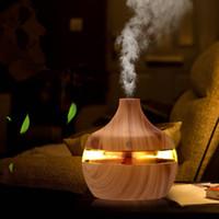 ultrasonik aromaterapi yağı difüzörü toptan satış-2019 yeni Aromaterapi Uçucu Yağ Difüzörü bambu Nemlendirici Ahşap Tahıl Ultrasonik Serin Mist Difüzörler ile 7 LED renkli ışık