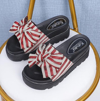 Wholesale female base shoes resale online - Outside new fund wears slipper summer bowknot thick base cool to drag female beach shoe holiday sandal word slipper f1
