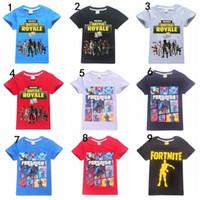 ropa gratis para niños al por mayor-Ropa para niños Camiseta Fortnite 100% Algodón Medio Big Boys Chicas Camisas de manga corta Ropa de verano Camisetas para niños DHL