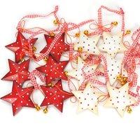 pequenas decorações de árvore de natal venda por atacado-Decorações de natal para casa 12 pcs vintage de metal estrela de natal com pequeno sino decoração da árvore de natal